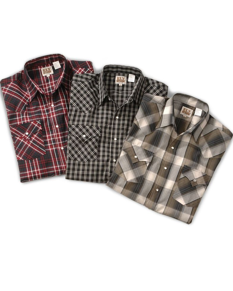 Ely Walker Men's Assorted Plaid or Stripe Long Sleeve Western Shirt, Plaid, hi-res