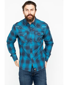 Rock 47 by Wrangler Men's Blue Hombre Long Sleeve Western Shirt, Black/blue, hi-res