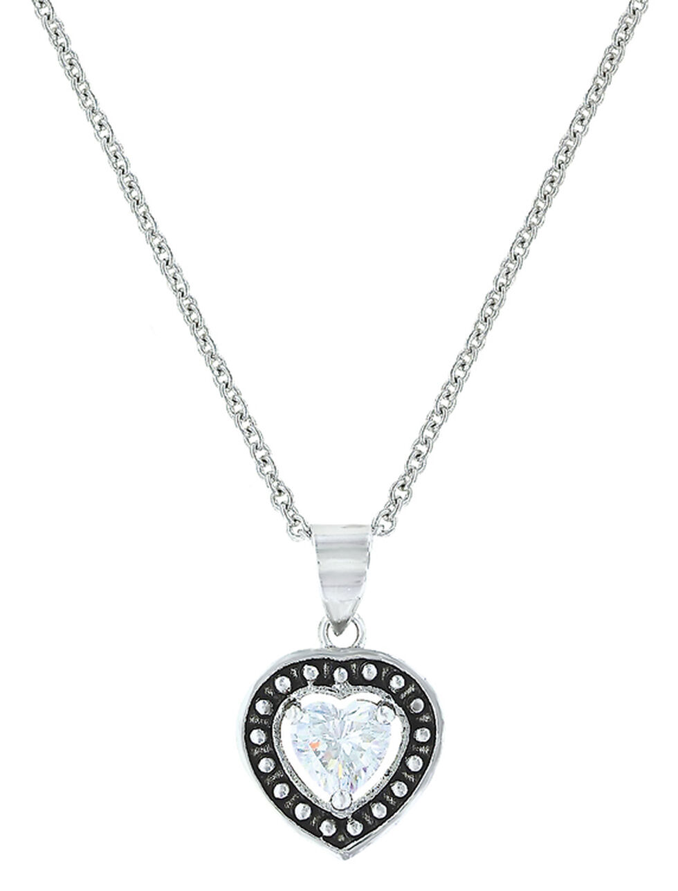 Montana Silversmiths Women's Pin Point Framed Heart Necklace , Silver, hi-res