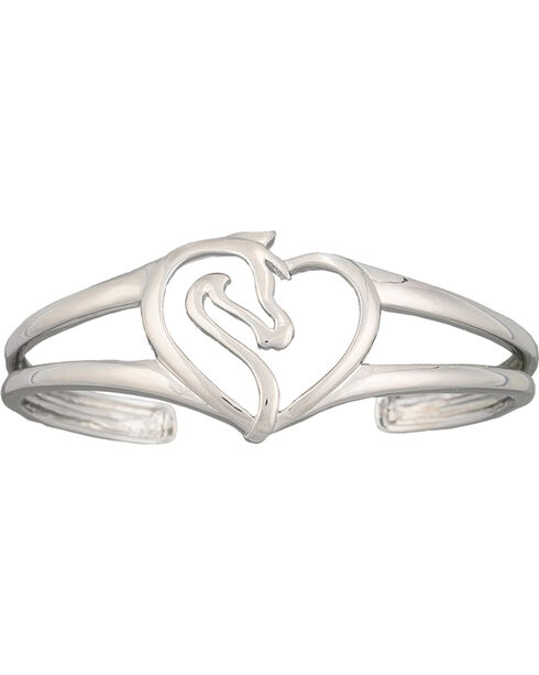 Montana Silversmiths Equestrian Heart Cuff Bracelet, Silver, hi-res