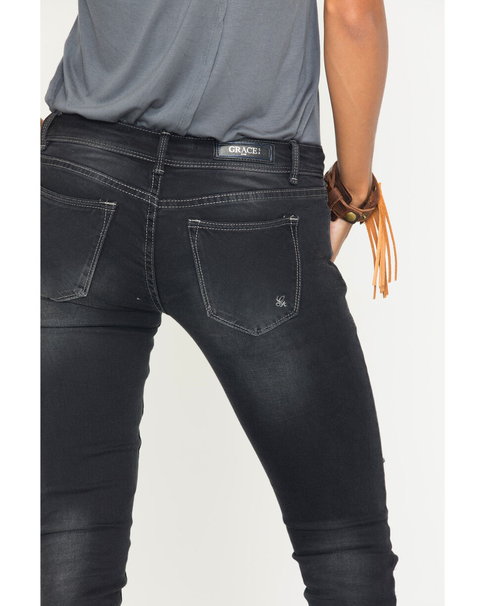 Grace in LA Women's Black Simple Pocket Jeans - Skinny , , hi-res