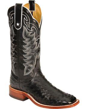 Tony Lama San Saba Full Quill Ostrich Cowboy Boots - Wide Square Toe, Black, hi-res