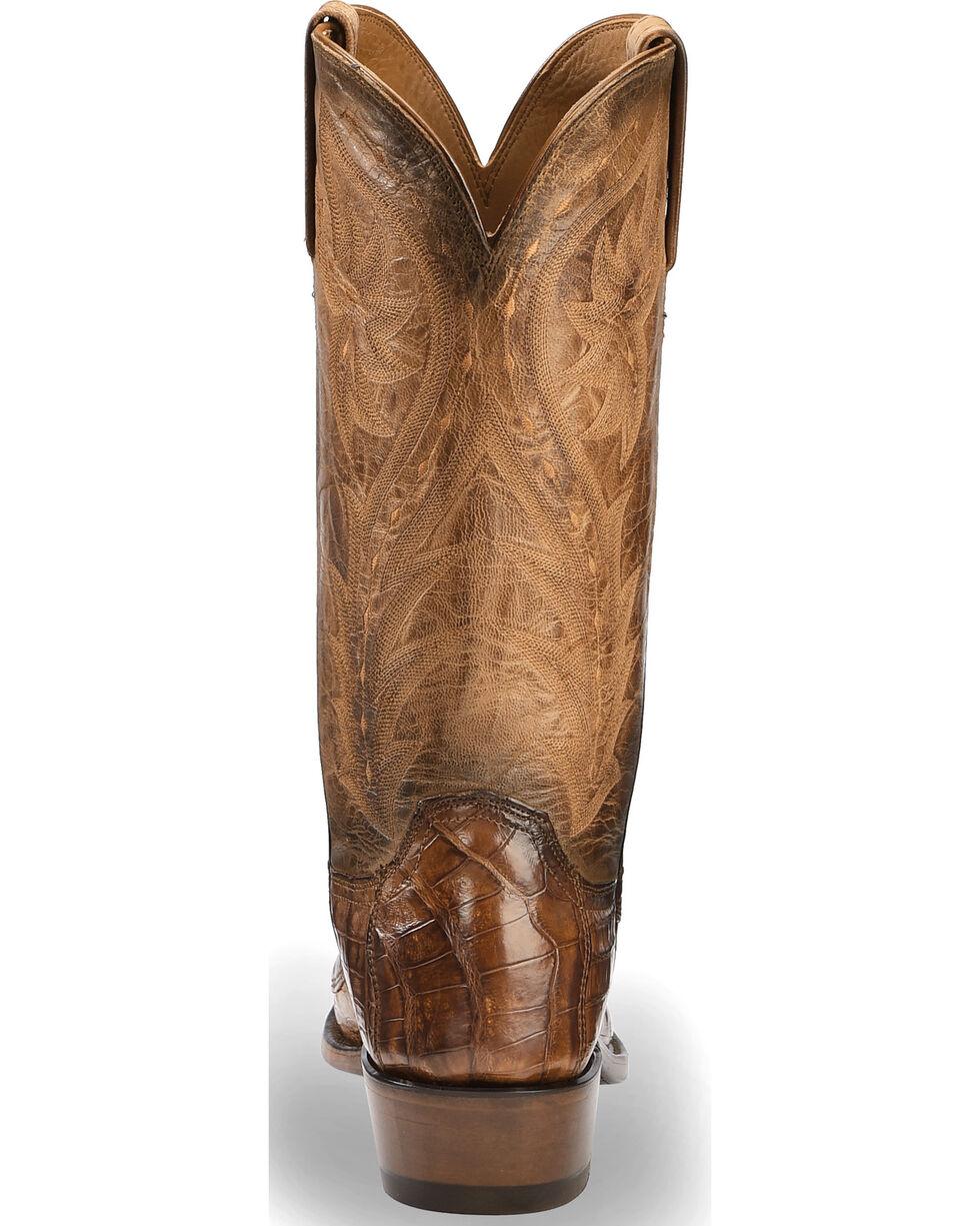 Lucchese Men's Handmade Tan Bernie Caiman Belly Western Boots - Snip Toe , Tan, hi-res