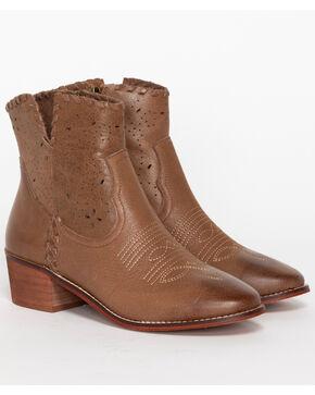 Shyanne Women's Perforated Booties - Medium Toe, Brown, hi-res