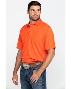 Ariat Men's Tangerine TEK Short Sleeve Polo Shirt , Orange, hi-res