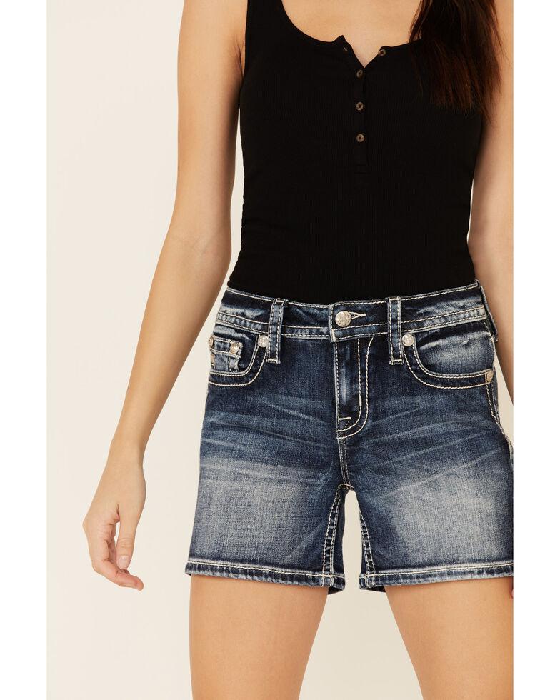 Miss Me Women's Floral Horseshoe Shorts, Blue, hi-res