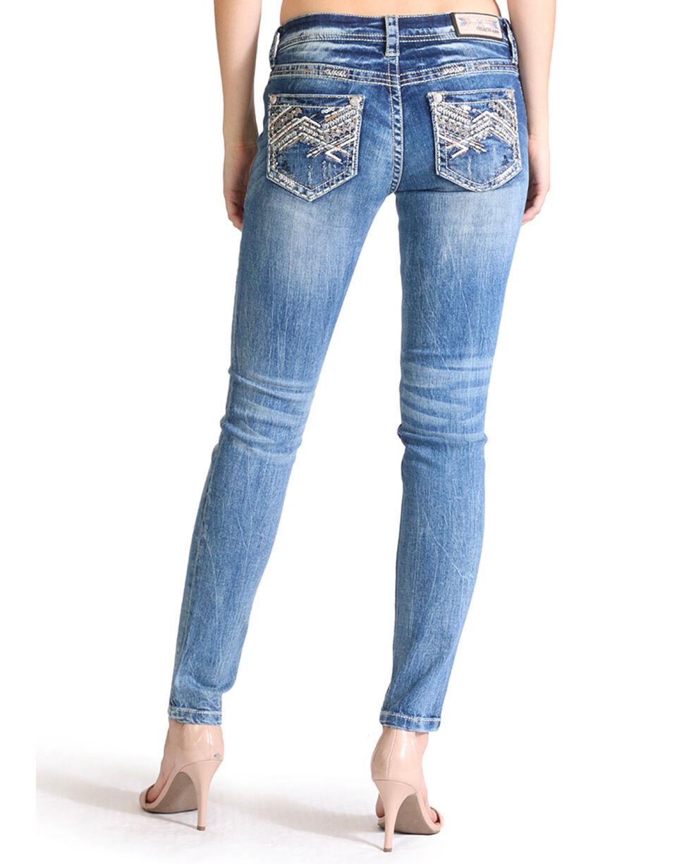 Grace in LA Women's Zig Zag Embroidered Pocket Skinny Jeans, Indigo, hi-res