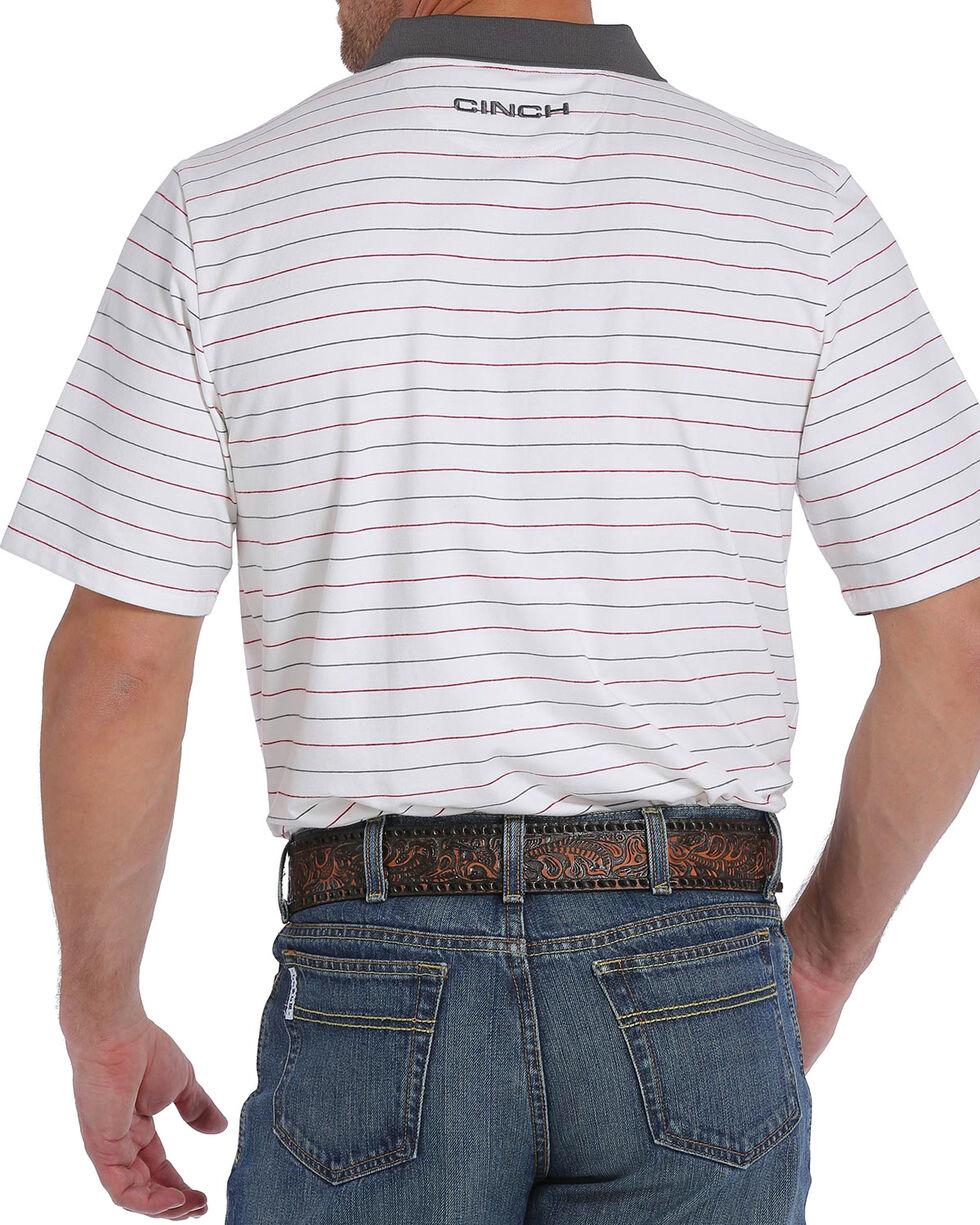 Cinch Men's ArenaFlex White Striped Tech Polo , White, hi-res