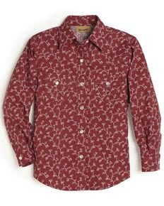 Wrangler Girls' Red Vine Snap Long Sleeve Western Shirt, Red, hi-res