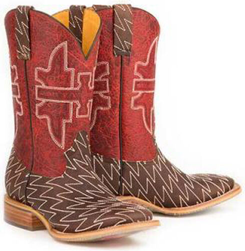 Tin Haul Lightning Lucy Cowboy Boots - Square Toe, Brown, hi-res