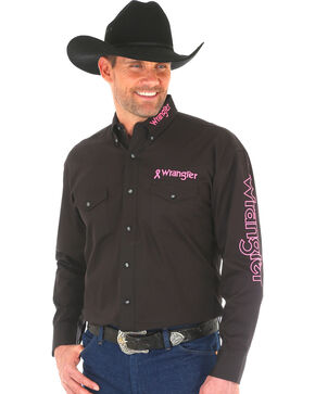 Wrangler Men's Black Tough Enough To Wear Pink Logo Shirt , Black, hi-res