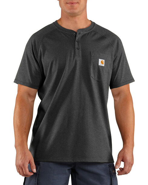 Carhartt Men's Heather Grey Force Cotton Delmont Short Sleeve Henley Shirt - Tall , Heather Grey, hi-res