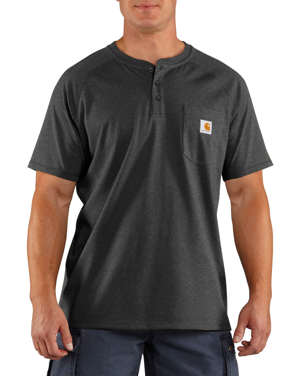 Carhartt Men's Heather Grey Force Cotton Delmont Short Sleeve Henley Shirt - Tall , Heather Grey, hi-res