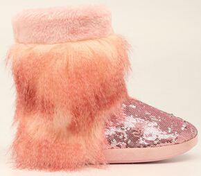 Blazin Roxx Pink Furry Sequin Slipper Booties, Pink, hi-res