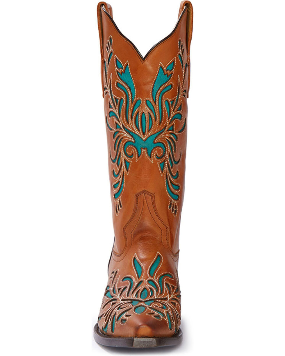 Stetson Women's Burnished Sorrel Turquoise Inlay Western Boots - Snip Toe, Orange, hi-res