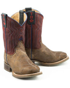 Tin Haul Boys' Spiderboot Western Boots - Square Toe, Brown, hi-res