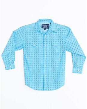 Panhandle Boys' Antique Narodini Snap Long Sleeve Shirt , Blue, hi-res