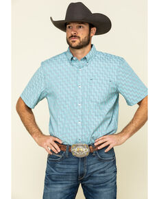 Cody James Core Men's Rodeo Clown Geo Print Short Sleeve Western Shirt - Tall , Blue, hi-res