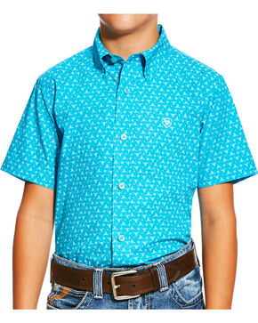 Ariat Boys' Blue Nevan Print Short Sleeve Shirt , Blue, hi-res
