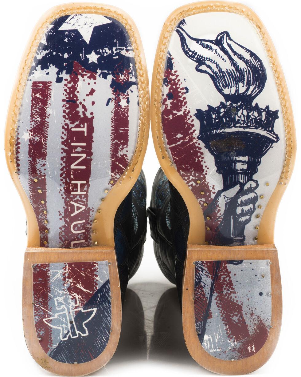 Tin Haul Men's Black N' Blue Torch Sole Cowboy Boots - Square Toe, Black, hi-res