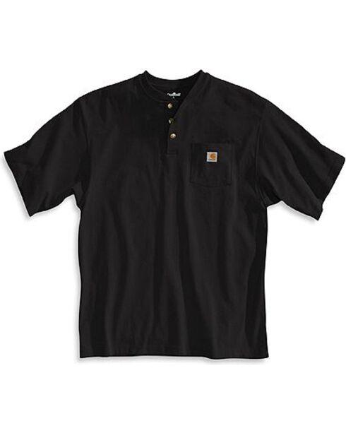 Carhartt Short Sleeve Henley Work Shirt - Big & Tall, Black, hi-res