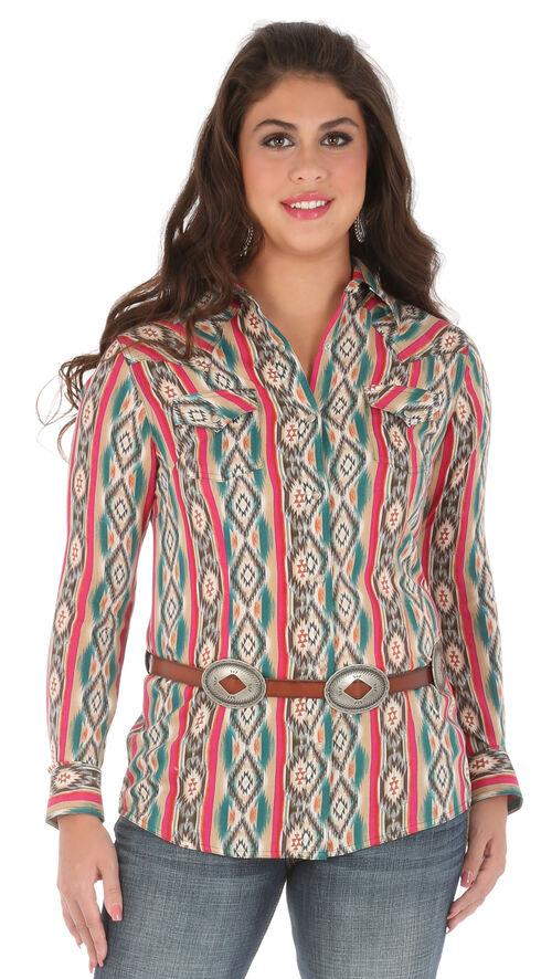 Wrangler Women's Long Sleeve Snap Aztec Print Shirt, Multi, hi-res