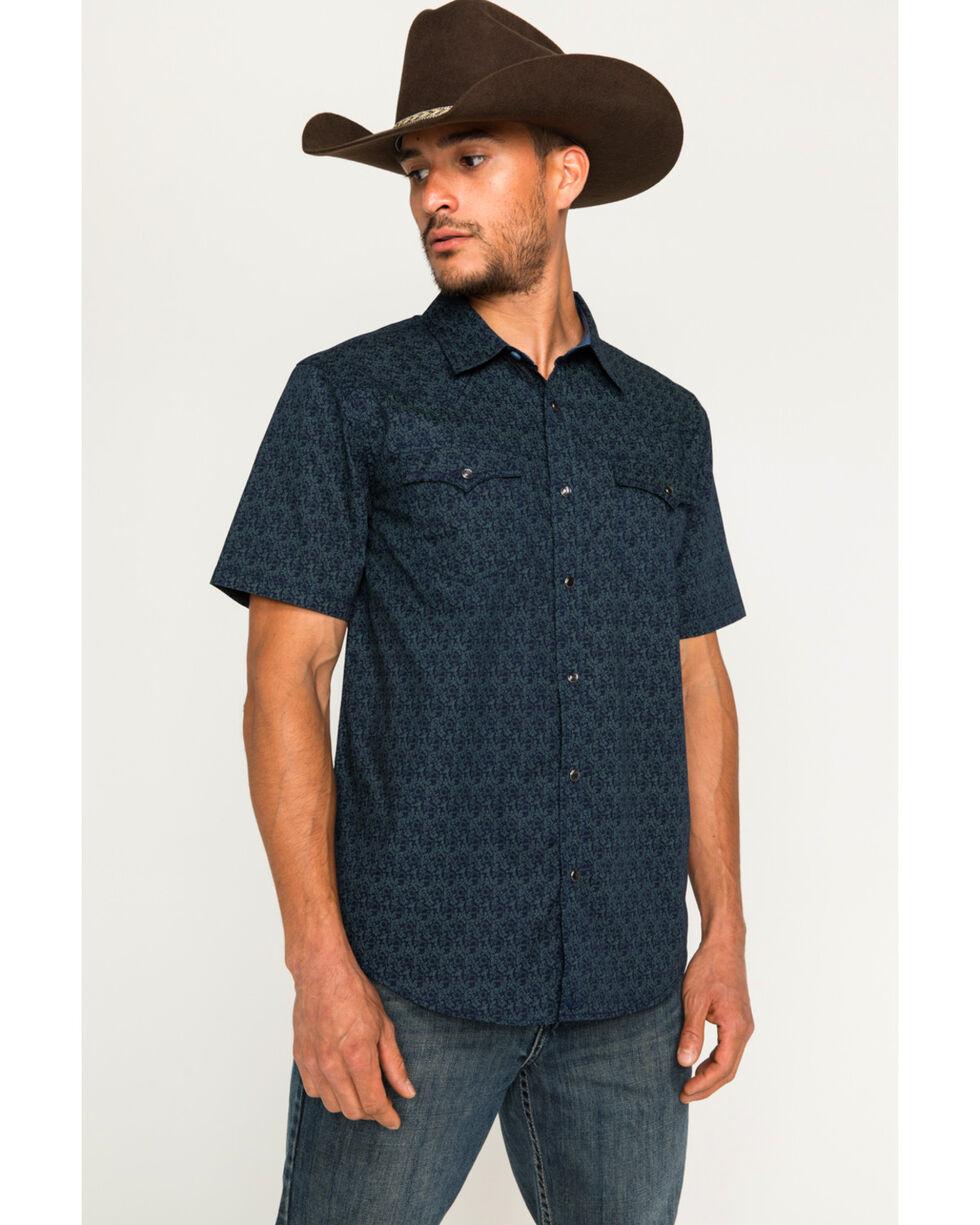 Cody James Men's Scorpion Navy Short Sleeve Western Snap Shirt, Navy, hi-res