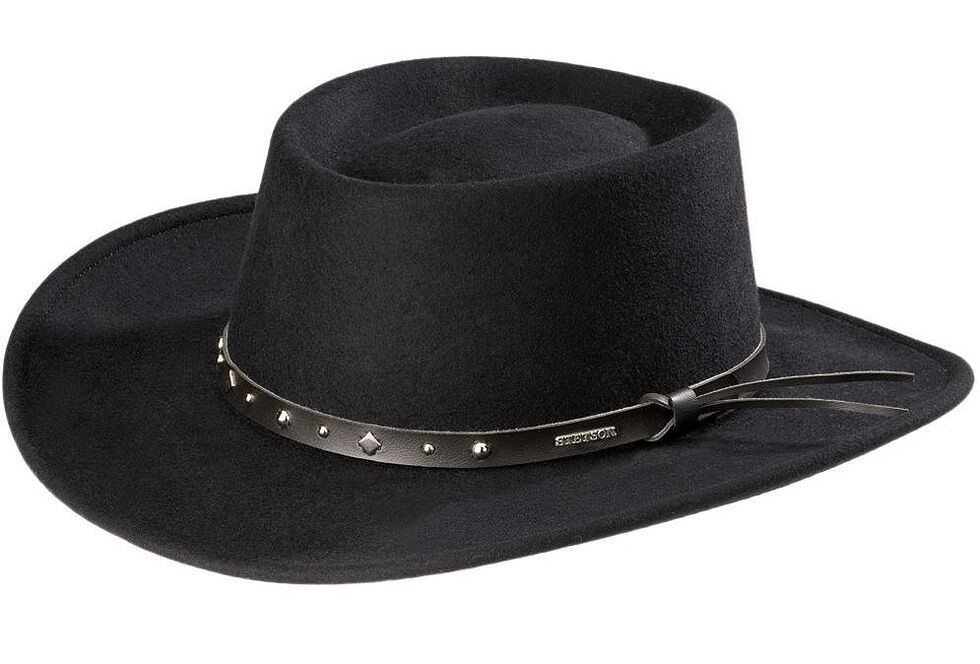 Stetson Black Hawk Crushable Wool Gambler Hat, Black, hi-res