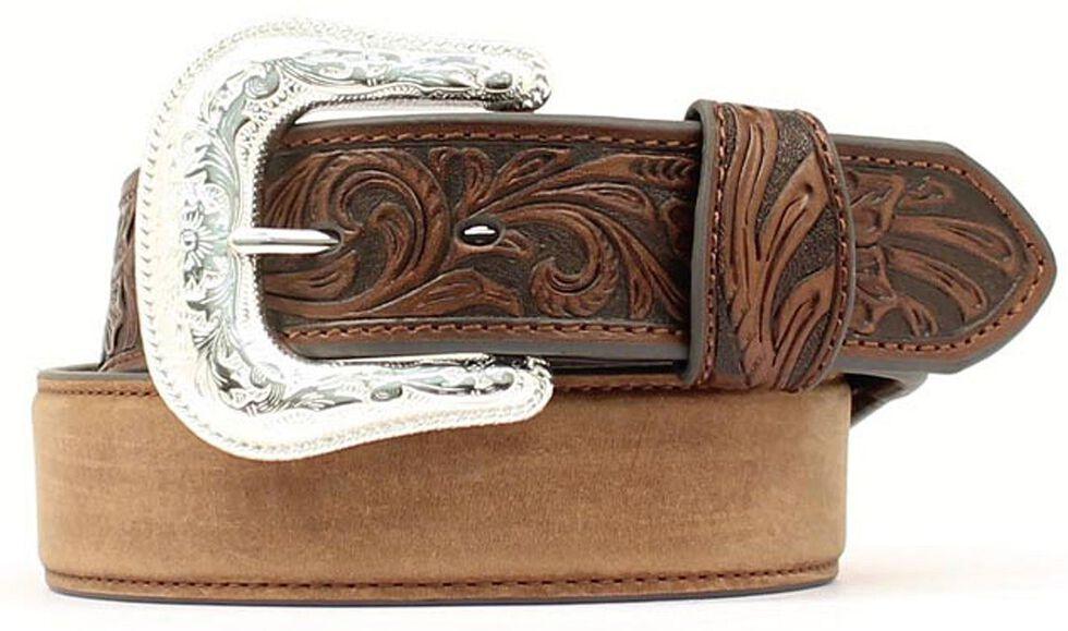 Nocona Tooled Tab Leather Belt, Med Brown, hi-res
