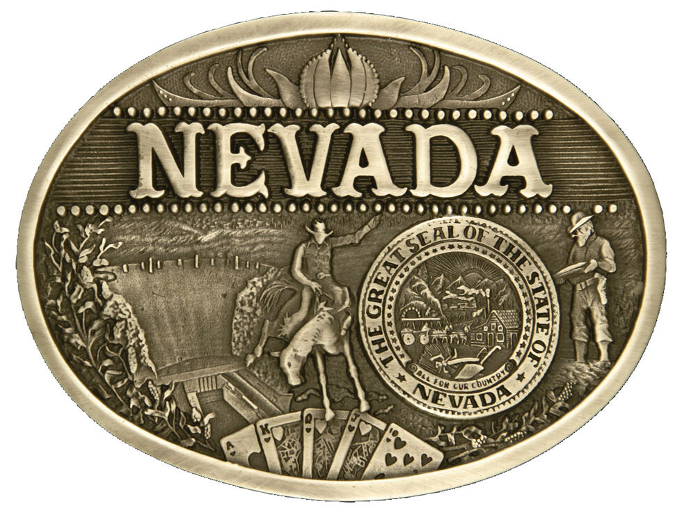 Montana Silversmiths Nevada State Heritage Attitude Belt Buckle, Gold, hi-res