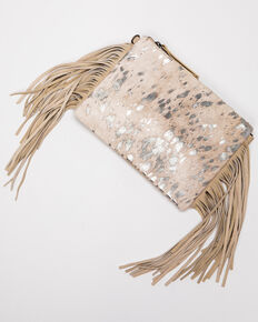 Shyanne Women's Grey Glitter Inlay With Fringe Crossbody Bag, Silver, hi-res