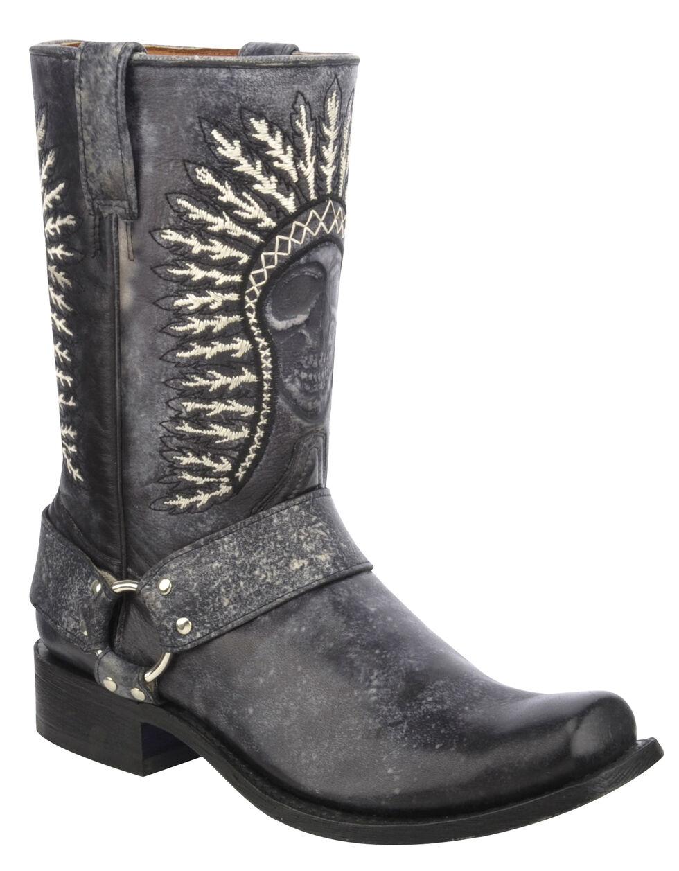 Corral Shaded Skull Harness Cowboy Boots - Square Toe, Black, hi-res