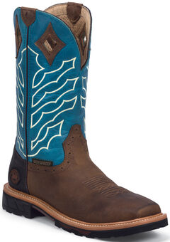 Justin Original Work Boots Men's Hybred Waterproof Pull-On Boots - Square Toe , Peanut, hi-res