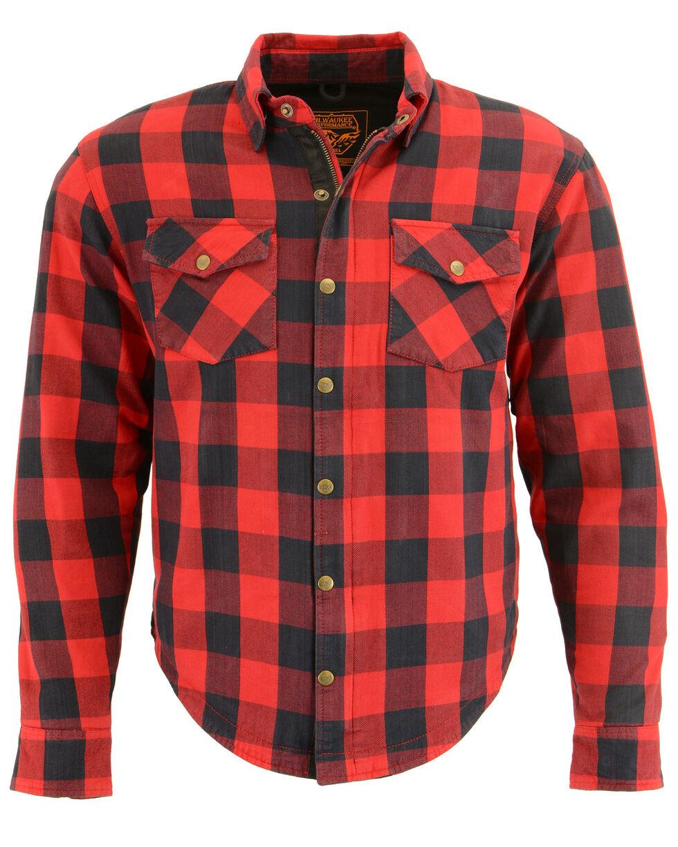 Milwaukee Performance Men's Black/Red Aramid Checkered Flannel Biker Shirt - 5X, Black/red, hi-res