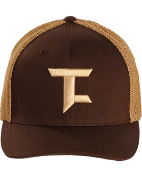 Tuf Cooper Performance Brown and Tan Flexfit Trucker Cap, Brown, hi-res