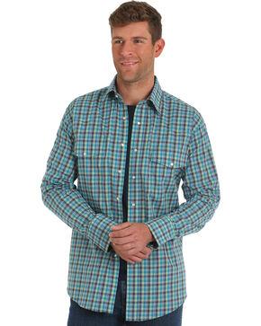 Wrangler Men's Turquoise Wrinkle Resistant Plaid Shirt - Big & Tall, Turquoise, hi-res