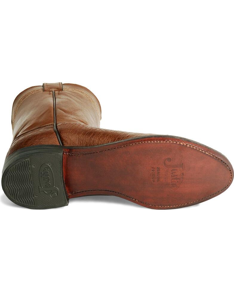 Justin Smooth Ostrich Roper Cowboy Boots, Brown, hi-res
