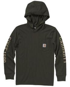 Carhartt Boys' Hooded Long Sleeve Pocket T-Shirt , Olive, hi-res