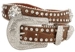 Red Ranch Brown Croc Print Rhinestone Embellished Belt, Brown, hi-res