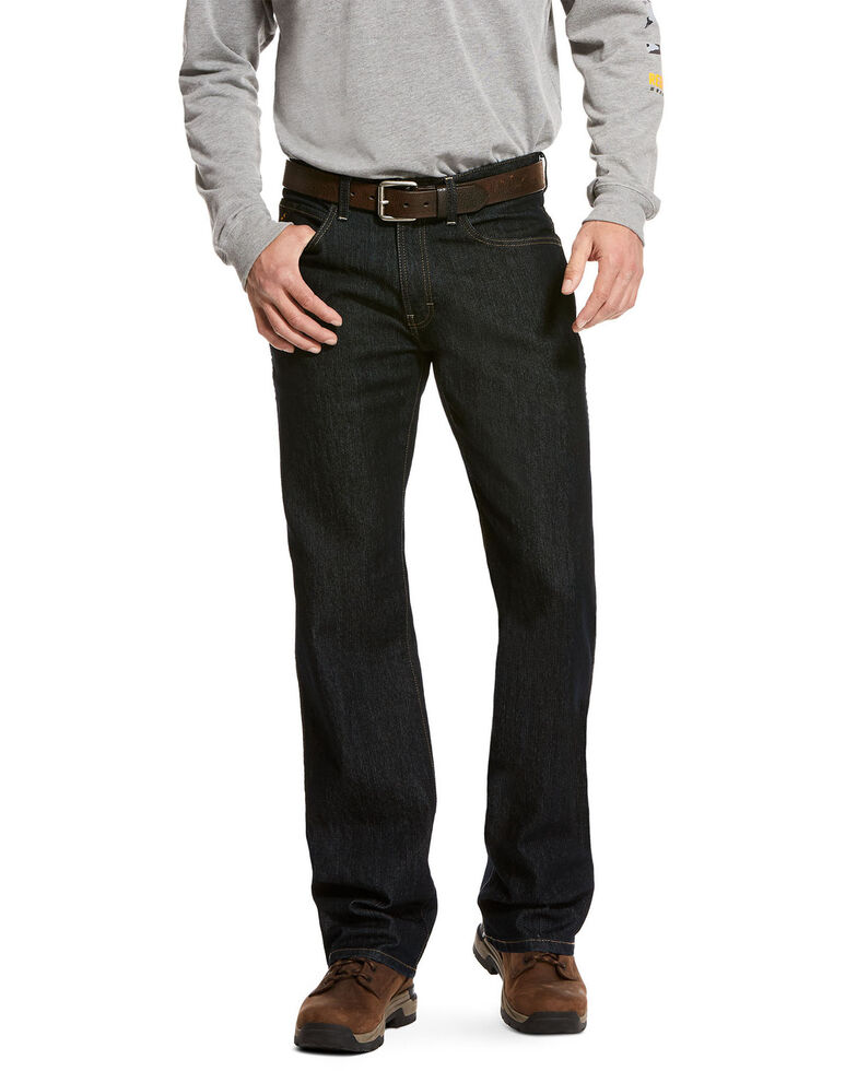 Ariat Men's Rebar M4 Durastretch Low Rise Bootcut Work Jeans , Indigo, hi-res