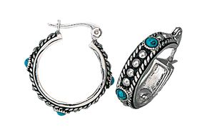 Montana Silversmiths Faux Turquoise Small Hoop Earrings, Silver, hi-res