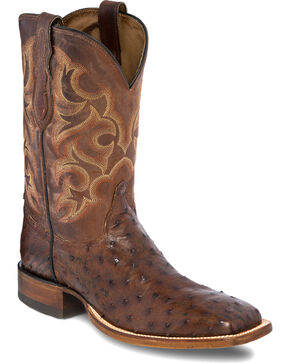 Justin Men's Lavaca Full Quill Ostrich Cowboy Boots - Square Toe, Chocolate, hi-res