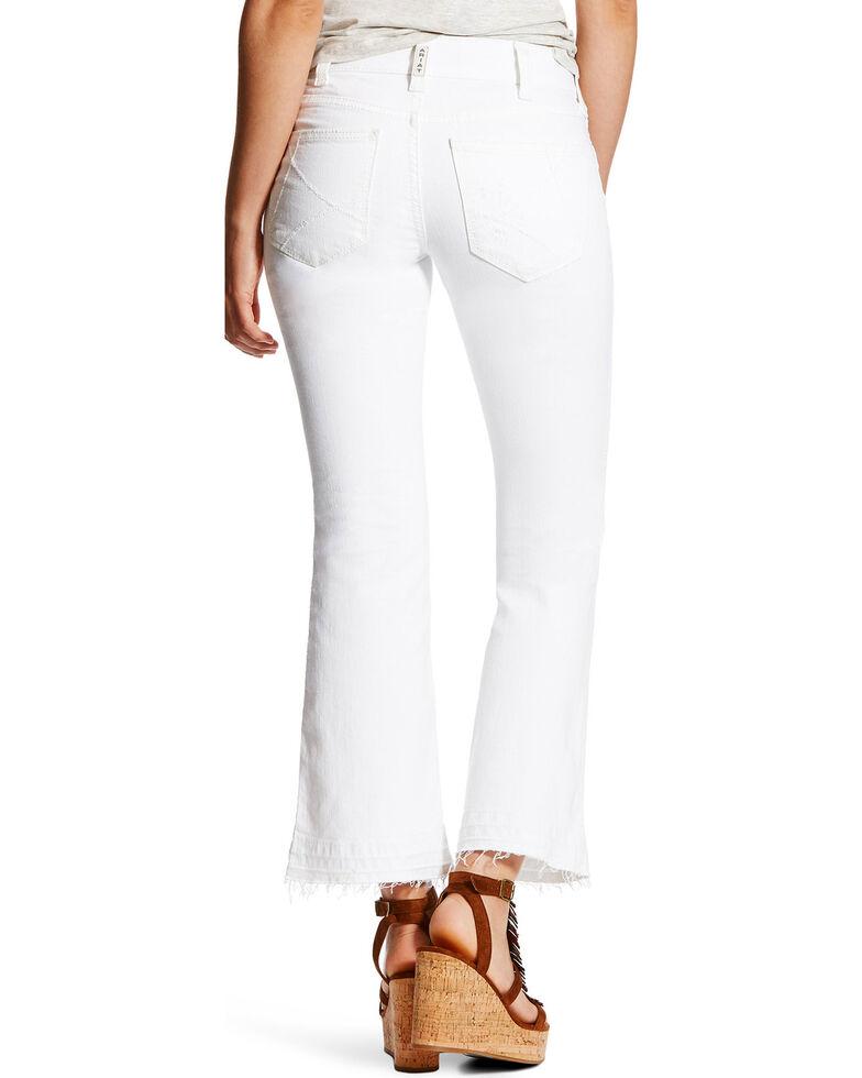 Ariat Women's R.E.A.L. Ella Cropped Mid Rise Jeans - Straight Leg, White, hi-res