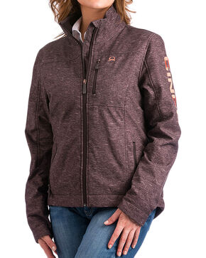 Cinch Women's Logo Concealed Carry Bonded Jacket, Brown, hi-res