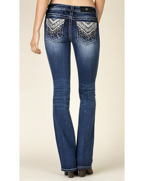 Miss Me Women's Embroidered Sequin Pocket Jeans - Boot Cut, Blue, hi-res