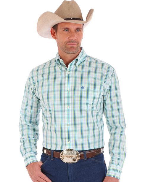 Wrangler Men's White Classics Long Sleeve Plaid Shirt , , hi-res