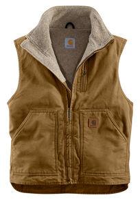 Carhartt Sherpa Lined Sandstone Duck Work Vest - Big & Tall, Carhartt Brown, hi-res