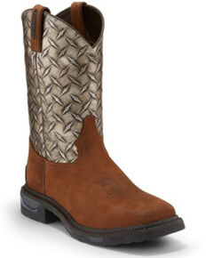Tony Lama Men's Diboll Diamond Plate Western Work Boots - Composite Toe, Silver, hi-res