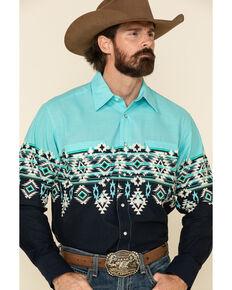Panhandle Men's Blue Aztec Scenic Border Print Long Sleeve Western Shirt , Blue, hi-res
