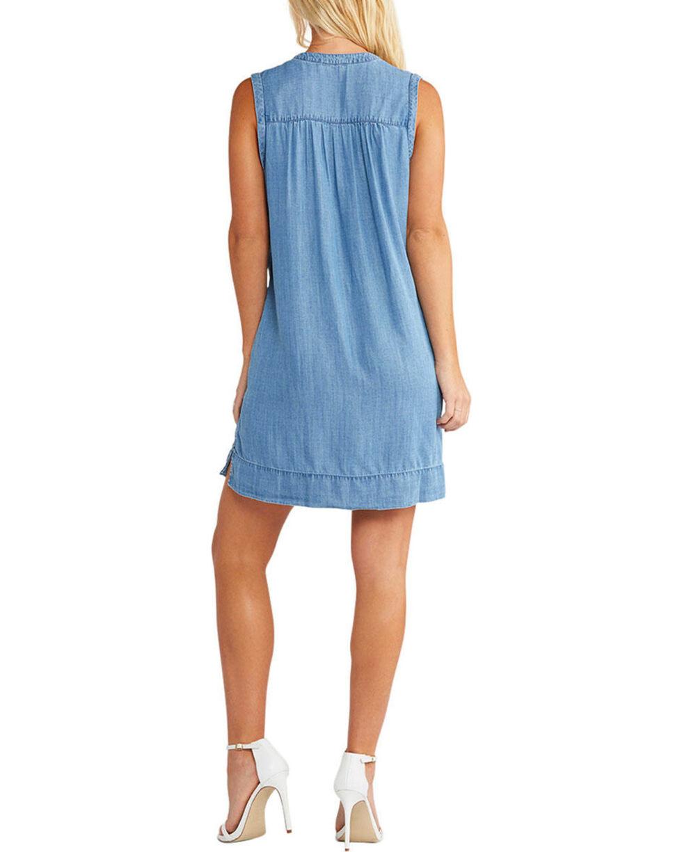 Silver Women's Indigo Lace Up Denim Dress , Indigo, hi-res